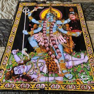 Kali Hindu Goddess tapestry with sequins NWOT